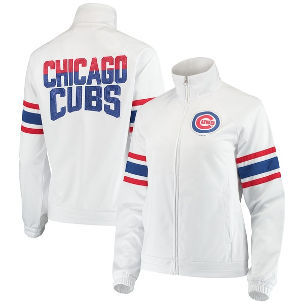 カールバンクス レディース ジャケット&ブルゾン アウター Chicago Cubs G-III 4Her by Carl Banks Women's Game Score Full-Zip Track Jacket White