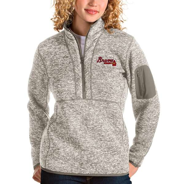 アンティグア レディース シャツ トップス Atlanta Braves Antigua Women's Fortune Quarter-Zip Pullover Jacket Oatmeal