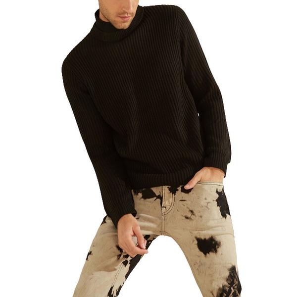ゲス メンズ アウター 日本最大級の品揃え 再再販 ニットセーター Jet Black Asher Sweater Mock Neck 全商品無料サイズ交換