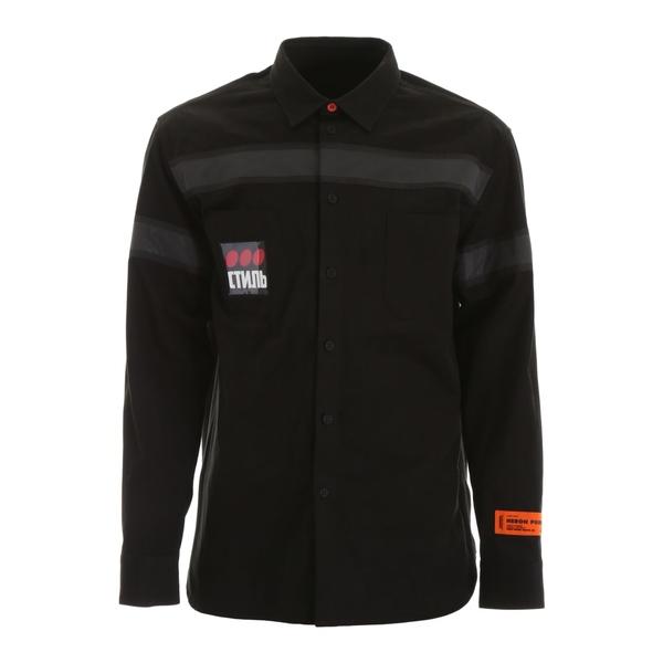 ヘロン プレストン メンズ シャツ トップス HERON PRESTON Light-reflecting Shirt BLACKMULTICOLORBlack