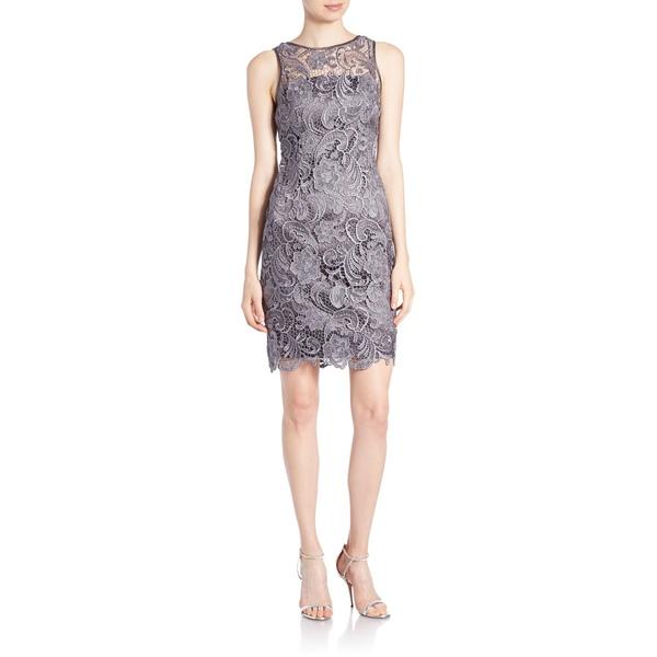 アドリアナ パペル レディース ワンピース トップス Lace & Satin Illusion Sheath Dress Charcoal