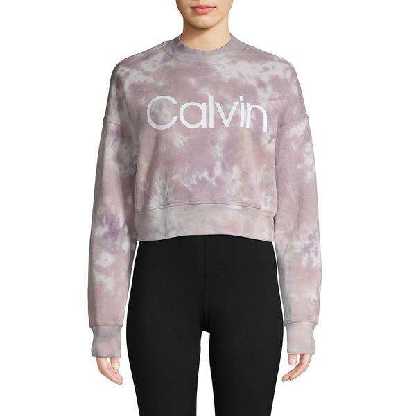 カルバンクライン レディース パーカー・スウェットシャツ アウター Tie-Dye Cropped Logo Sweatshirt Mineral Combo
