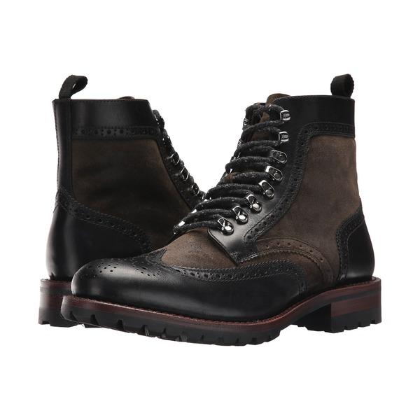 フライ メンズ ブーツ&レインブーツ シューズ George Adirondack Black Multi Waterproof Smooth Pull Up/Waxed Suede