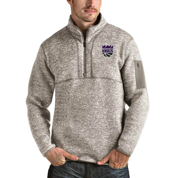 アンティグア メンズ ジャケット&ブルゾン アウター Sacramento Kings Antigua Fortune Quarter-Zip Pullover Jacket Natural