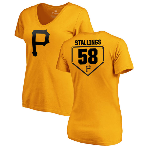ファナティクス レディース Tシャツ トップス Pittsburgh Pirates Fanatics Branded Women's Personalized RBI Slim Fit VNeck TShirt Gold