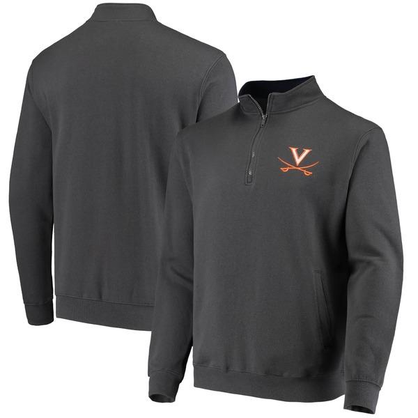 コロシアム メンズ ジャケット&ブルゾン アウター Virginia Cavaliers Colosseum Tortugas Logo QuarterZip Pullover Jacket Heathered Gray
