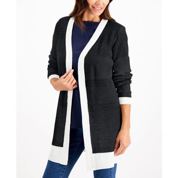 【超特価sale開催!】 ケレンスコット レディース ニット&セーター アウター Textured Open-Front Cardigan, Black, 358 Fashion Avenue ed3cd95b