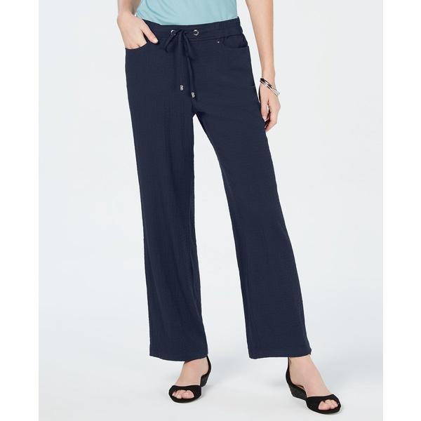 登場! ジェイエムコレクション レディース カジュアルパンツ ボトムス Crinkle Wide-Leg Pants, Intrepid Blue, 超激安 4577b317