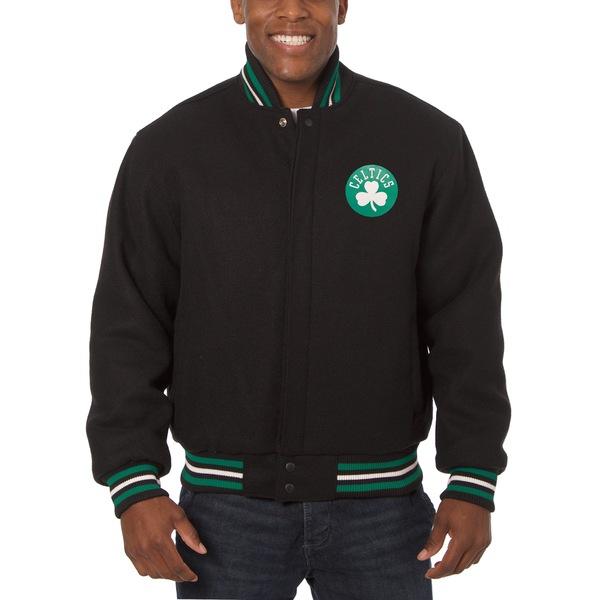 ジェイエイチデザイン メンズ ジャケット&ブルゾン アウター Boston Celtics JH Design Big & Tall All Wool Jacket with Leather Logo Black