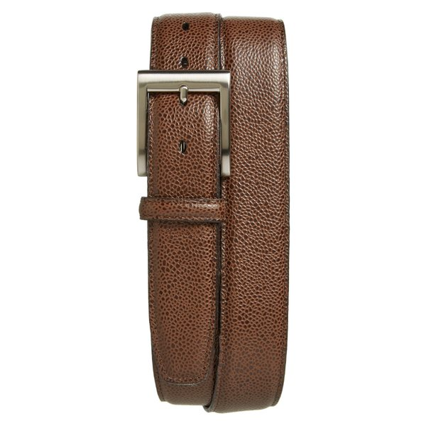 トリノ メンズ ベルト アクセサリー Torino Belts Basketball Grain Leather Belt Brown