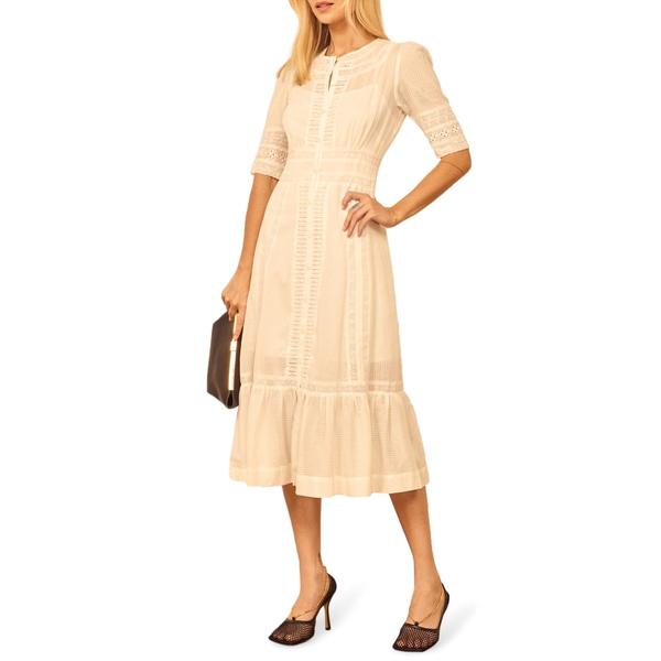 リフォメーション レディース ワンピース トップス Oxford Organic Cotton Eyelet Midi Dress Ivory