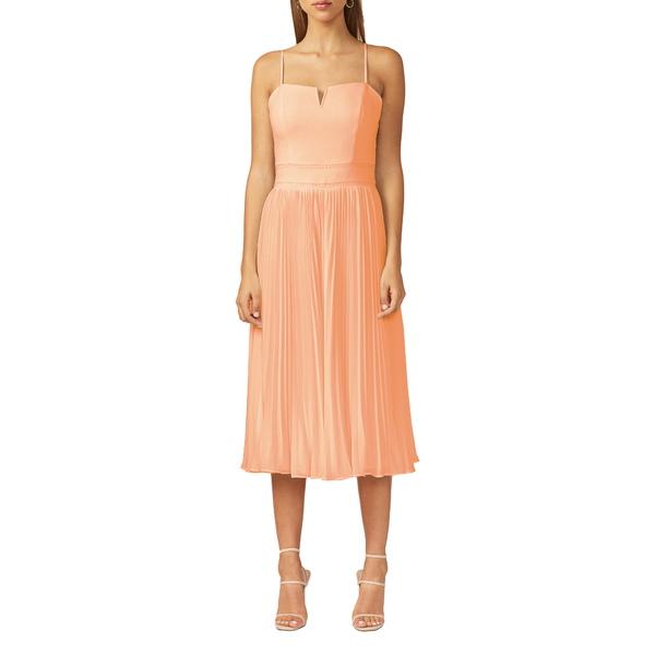 アドレイン ラエ レディース ワンピース トップス Charli Pleated Midi Dress Peach