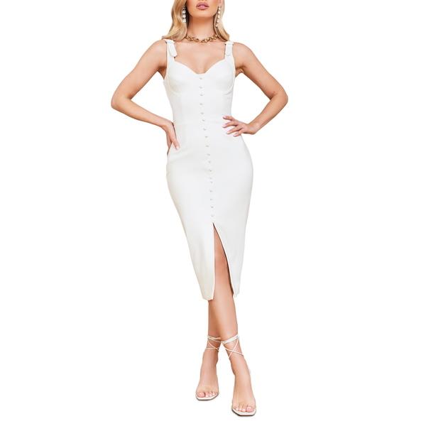 ラビッシュアリス レディース ワンピース トップス Buckle Strap Underwire Midi Dress White