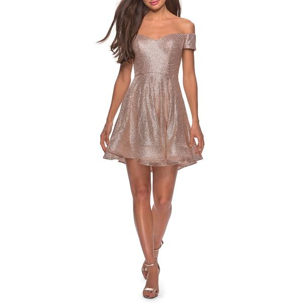 ラフェム レディース ワンピース トップス Off the Shoulder Sequin Cocktail Dress Champagne