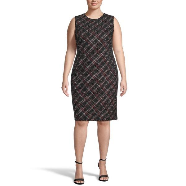 カスパー レディース トップス ワンピース Black Multi Size Striped メーカー公式 買い取り Sheath Plus Dress 全商品無料サイズ交換