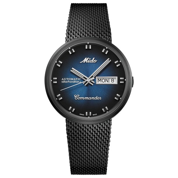 <title>ミド レディース アクセサリー 腕時計 Black 全商品無料サイズ交換 Men's Swiss Automatic Commander Shade PVD Stainless 超安い Steel Mesh Bracelet Watch 37mm</title>