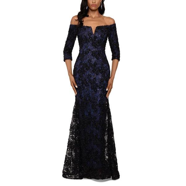 人気ブランドを エスケープ レディース ワンピース トップス Petite Lace Off-The-Shoulder Gown Black/Navy Floral, トウオンシ 5de40d15