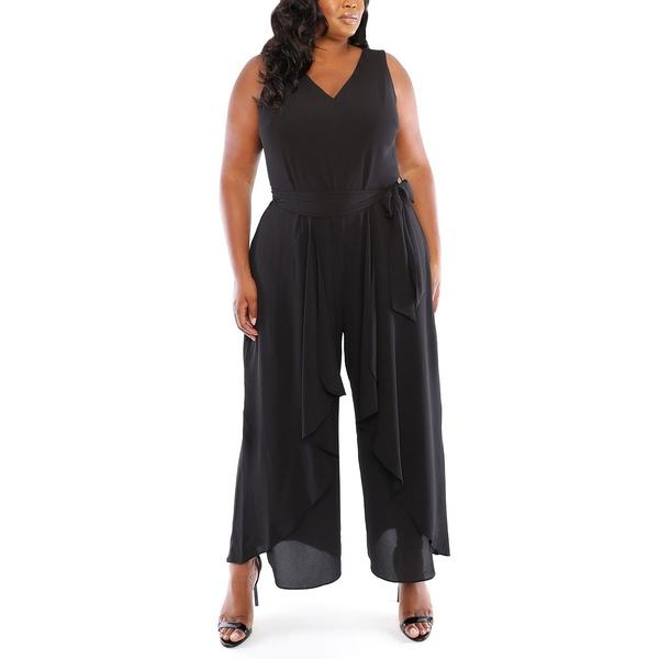 訳あり ロンドンタイムス レディース トップス ワンピース Black Plus SALENEW大人気 全商品無料サイズ交換 Size Jumpsuit Split-Leg