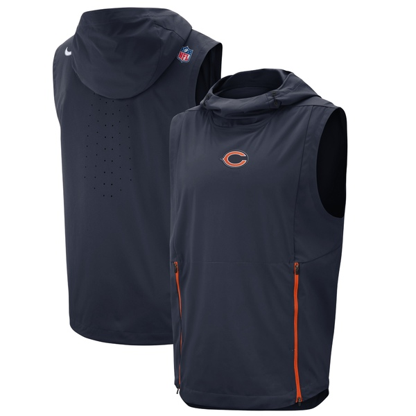 ナイキ メンズ ジャケット&ブルゾン アウター Chicago Bears Nike Sideline Fly Rush Performance Pullover Hooded Vest Navy