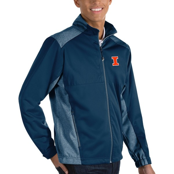 アンティグア メンズ ジャケット&ブルゾン アウター Illinois Fighting Illini Antigua Big & Tall Revolve Full-Zip Jacket Navy
