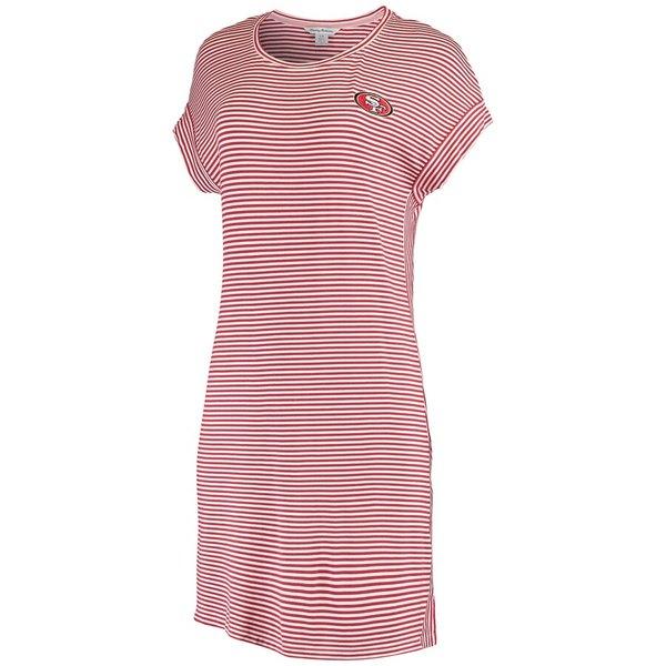 トッミーバハマ レディース ワンピース トップス San Francisco 49ers Tommy Bahama Women's Cassia Stripe T-Shirt Dress Cardinal