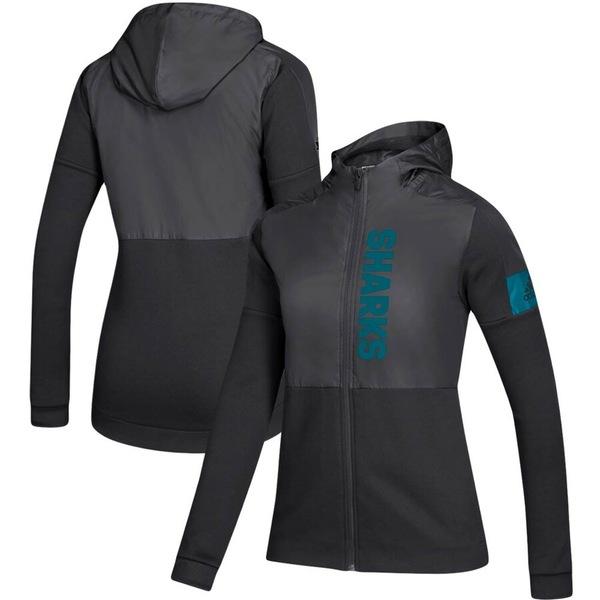 アディダス レディース ジャケット&ブルゾン アウター San Jose Sharks adidas Women's Game Mode Full-Zip Jacket Black