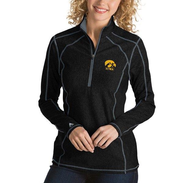 アンティグア レディース ジャケット&ブルゾン アウター Iowa Hawkeyes Antigua Women's Tempo 1/4-Zip Desert Dry Pullover Jacket Black