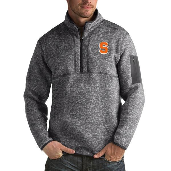 アンティグア メンズ ジャケット&ブルゾン アウター Syracuse Orange Antigua Fortune Big & Tall Quarter-Zip Pullover Jacket Charcoal