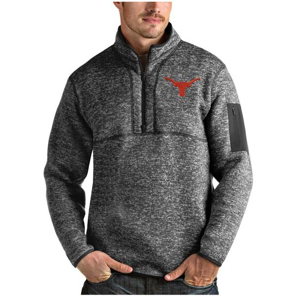 アンティグア メンズ ジャケット&ブルゾン アウター Texas Longhorns Antigua Fortune Quarter-Zip Pullover Jacket Heather Charcoal