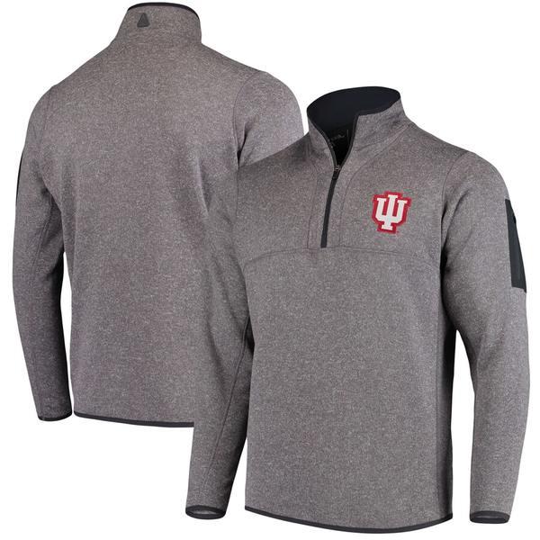 アンティグア メンズ ジャケット&ブルゾン アウター Indiana Hoosiers Antigua Fortune 1/2-Zip Pullover Sweater Heathered Charcoal