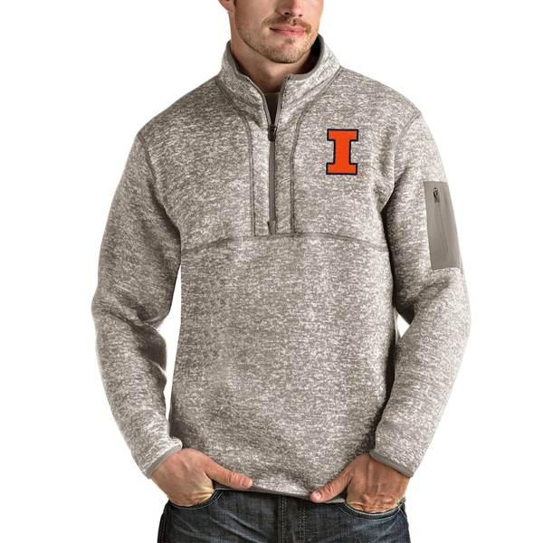 アンティグア メンズ ジャケット&ブルゾン アウター Illinois Fighting Illini Antigua Fortune Half-Zip Pullover Jacket Oatmeal
