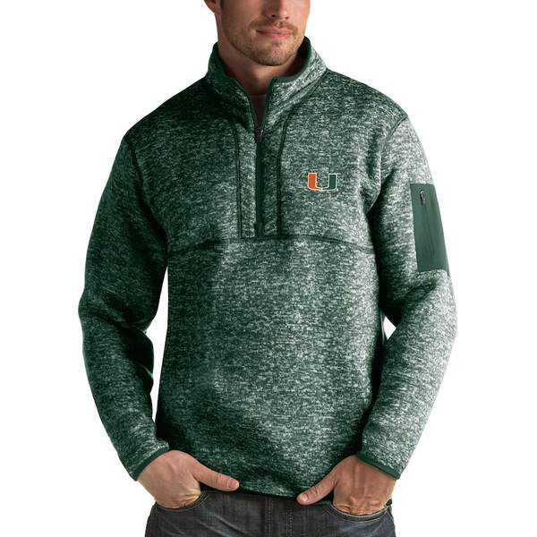 アンティグア メンズ ジャケット&ブルゾン アウター Miami Hurricanes Antigua Fortune 1/2-Zip Pullover Sweater Heathered Green