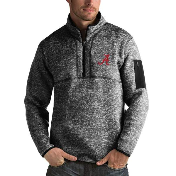 アンティグア メンズ ジャケット&ブルゾン アウター Alabama Crimson Tide Antigua Fortune 1/2-Zip Pullover Sweater Heathered Black