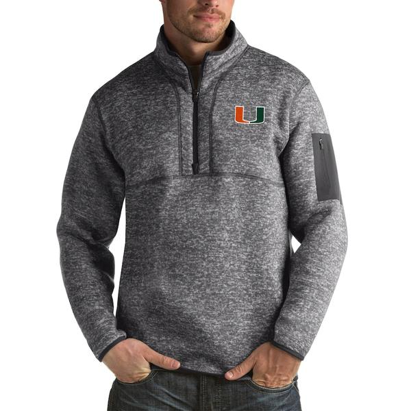 アンティグア メンズ ジャケット&ブルゾン アウター Miami Hurricanes Antigua Fortune Big & Tall Quarter-Zip Pullover Jacket Charcoal