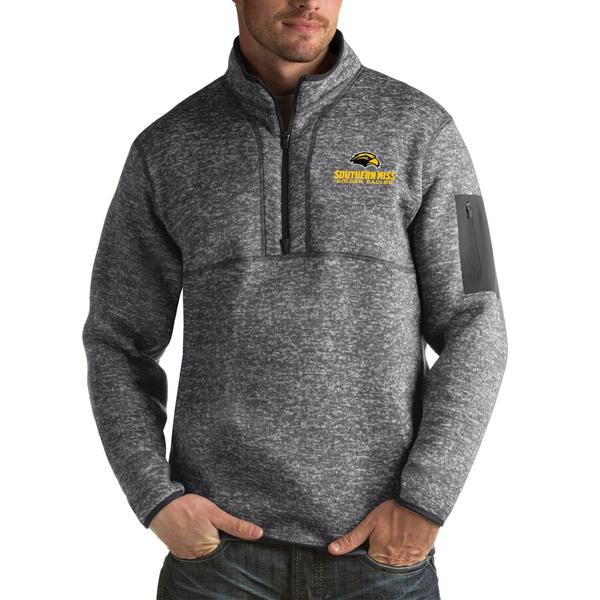 アンティグア メンズ ジャケット&ブルゾン アウター Southern Miss Golden Eagles Antigua Fortune Big & Tall Quarter-Zip Pullover Jacket Charcoal