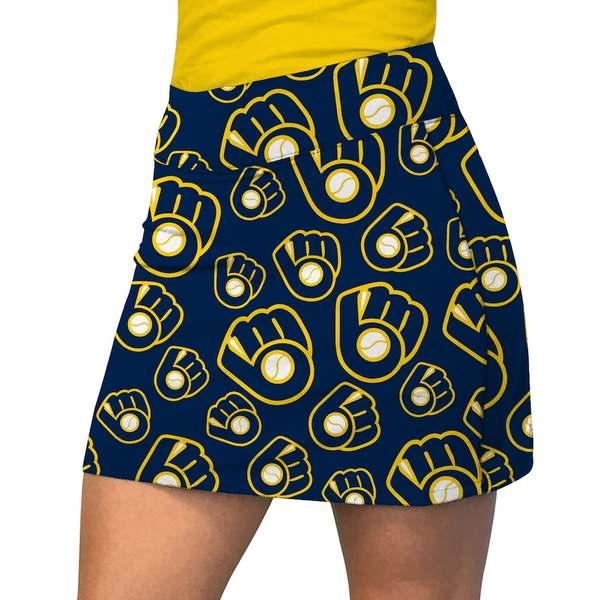 ラウドマウス レディース ワンピース トップス Milwaukee Brewers Loudmouth Women's Retro Cooperstown Active Skort Blue/Yellow