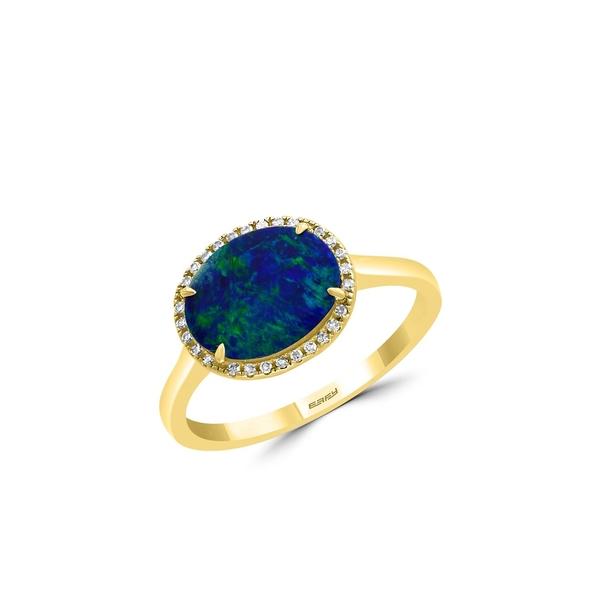 エフィー レディース リング アクセサリー 14K Yellow Gold, Blue Opal & Diamond Solitaire Ring Blue