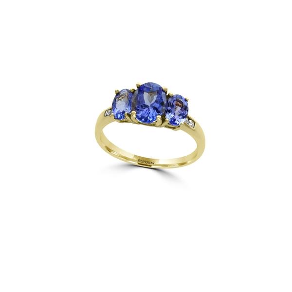 エフィー レディース リング アクセサリー Diamonds, Oval Tanzanite and 14K Yellow Gold Ring Blue