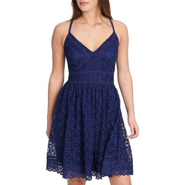 ゲス レディース ワンピース トップス Lace Halter Fit-and-Flare Dress Navy