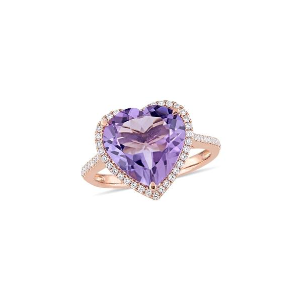 ソナティナ レディース リング アクセサリー 14K Rose Gold Amethyst & 0.33 TCW Diamond Halo Heart Ring Rose Gold