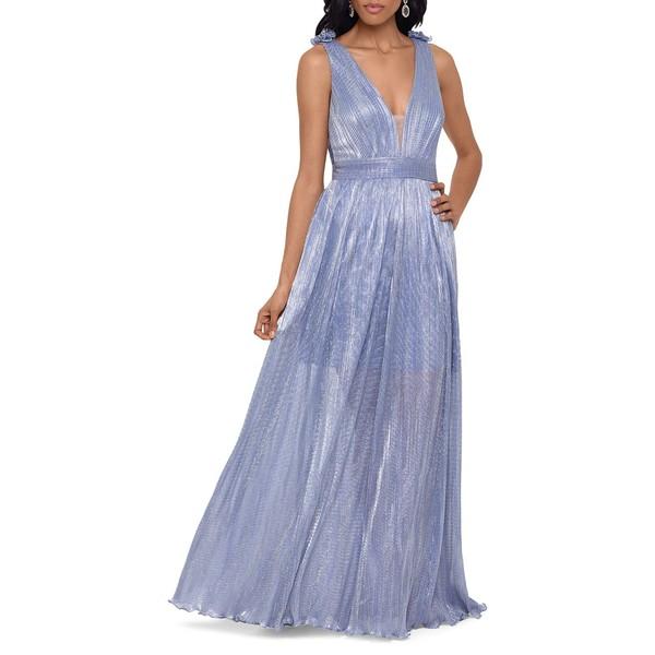 エスケープ レディース ワンピース トップス Deep V-Neck Long Gown Royal Silver