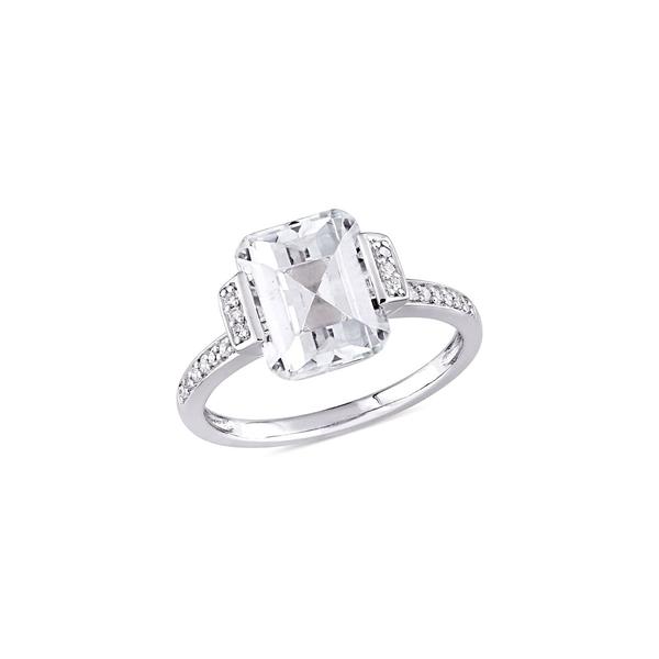 ソナティナ レディース リング アクセサリー Sterling Silver, White Topaz & 0.1 TCW Diamond Halo Engagement Ring Sterling Silver
