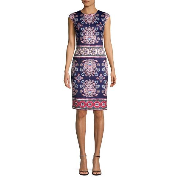 ヴィンスカムート レディース ワンピース トップス Floral-Print Scuba Sheath Dress Navy