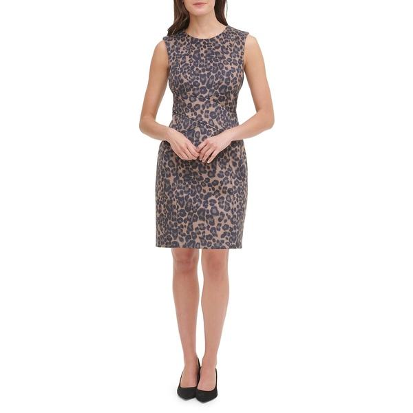 トミー ヒルフィガー レディース ワンピース トップス Feline Femme Sheath Dress Brown Multi