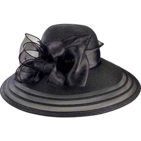 サンディエゴハット レディース アクセサリー 帽子 Black 全商品無料サイズ交換 Poly 春の新作シューズ満載 内祝い Dress with Organza Women's Bow DRS1011 Hat
