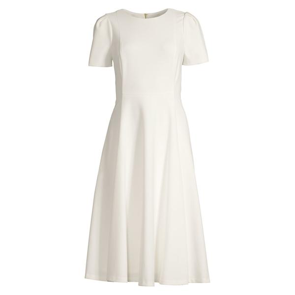 カルバンクライン レディース ワンピース トップス Midi Fit-&-Flare Dress Cream