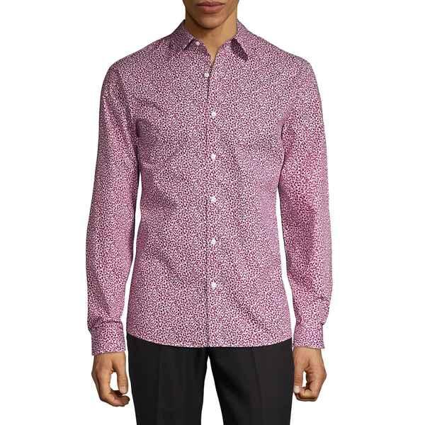 マイケルコース メンズ シャツ トップス Printed Spread Collar Shirt Raspberry