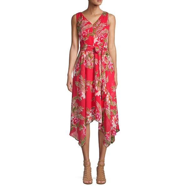 エリザジェイ レディース ワンピース トップス Tied Floral V-Neck Handkerchief Dress Coral