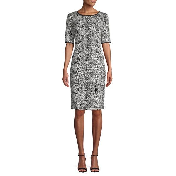 テイラー レディース ワンピース トップス Snakeskin-Print Sheath Dress Ivory Black