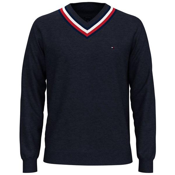 【受注生産品】 トミー ヒルフィガー メンズ ニット&セーター アウター Men's Murray Regular-Fit Cricket Sweater Blue Heather, 着物クリーニングきもの工房なぎさ 91f3475a